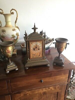 Antique 19th Century Beutiful Rare French Japy Freres & Cie Garniture Clock Set