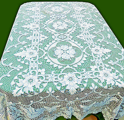 Vintage Handmade Point de Venice Lace Tablecloth Phoenix napkins 64x100 Oblong