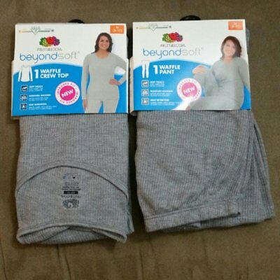 NEW Fruit of the Loom Waffle Thermal top & bottom Set Gray Size M