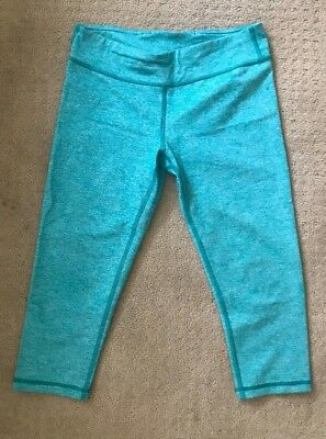 ivivva leggings size 14 teal green cropped EUC