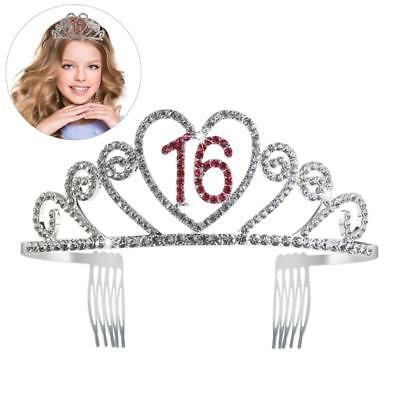 Sweet 16 Birthday Tiara Rhinestone Crystal Princess Crown 16th Party Accessories
