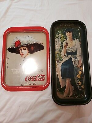 LOT VINTAGE 70s SET OF 2 COCA-COLA TRAYS LADIES FROM DIFFERENT ERAS