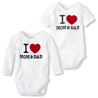 Long/Short Sleeve Tops I Love MOM/DAD Print Baby Boy Girl Cotton Romper Jumpsuit