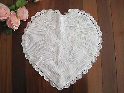 Chic Heart Shape Hand 3D Crochet Flower Fine Yarn White Cotton Cushion Cover S