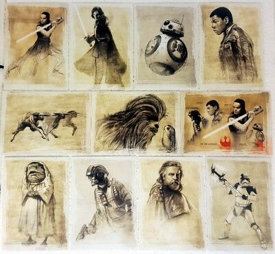 star wars 2017 THE LAST JEDI Series 1  ILLUSTRATED Card set of 11 SWI 1 - 11