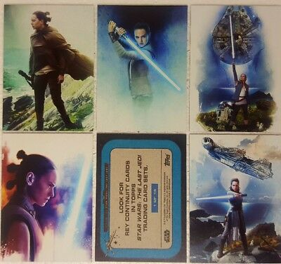 JOURNEY TO STAR WARS  THE LAST JEDI Trading Card set of 5 REY Continuity set