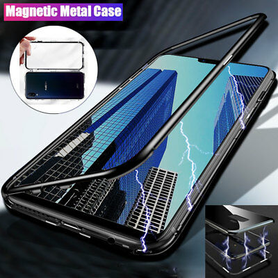 Magnetic Adsorption Case for Vivo NEX/X21 Metal Bumper Tempered Glass Back Cover