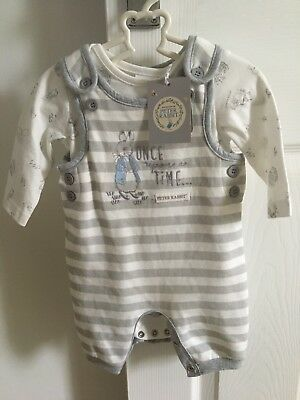 Peter Rabbit Beatrix Potter Baby Boys Dungarees Romper Outfit up to 1 month