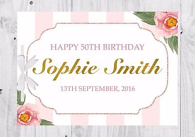 PERSONALISED Birthday Guest Book, Keep Sake, Game, Pink, Floral, Roses, 50th