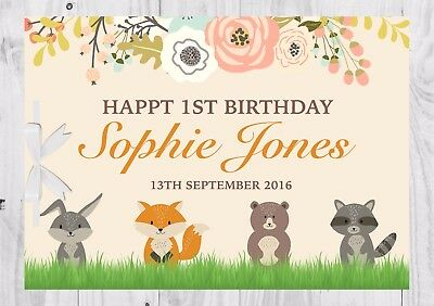 PERSONALISED Birthday Guest Book, Keep Sake, 1st, Woodland, Neutral, Cute