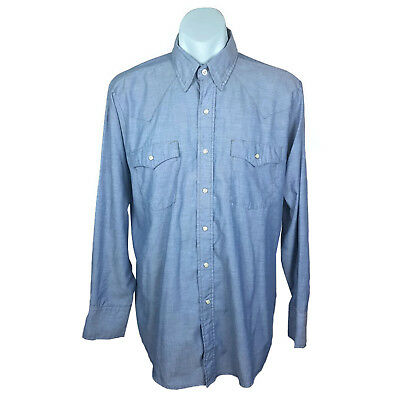 Saddle King Western Mens Shirt Size L Blue Long Sleeve Chambray Vintage
