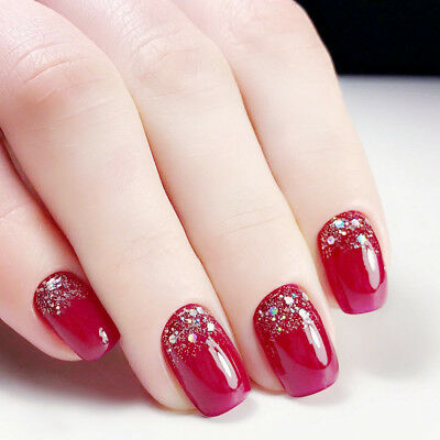 Christmas Red Short Fake Nails Glitter 24pcs Acrylic Full Cover False Nails