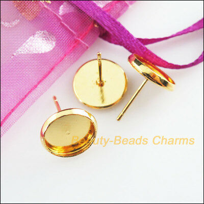20 New Findings Gold Plated Round Smooth Pad Wire Earrings Hooks 12x13mm