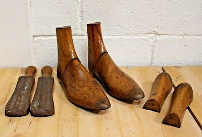 Antique Vintage Victorian Wooden Shoe Boot Stretchers Trees Hinged Display - 254