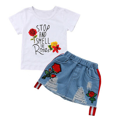 USA Toddler Kids Baby Girl Summer Tops T-shirt Denim Dress 2Pcs Outfits Clothes
