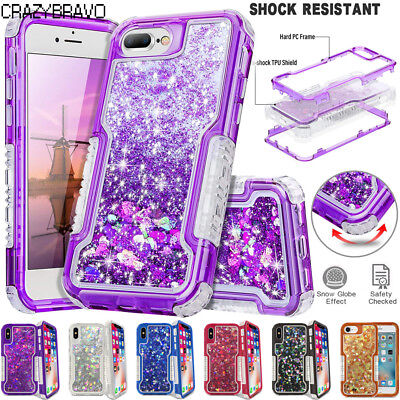 Shockproof Defender Quicksand Glitter Liquid Case Cover For iPhone 6/7/8/Plus/X