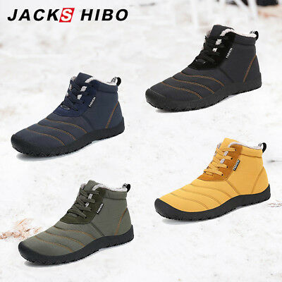 Mens Winter Snow Warm Soft High Boots Platform Fur Lined Lace Up Outdoor Shoes