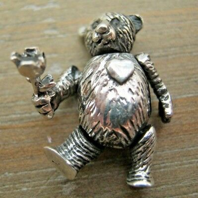 An English HM Sterling Silver Articulated Teddy Bear Holding Rose - Dolls House
