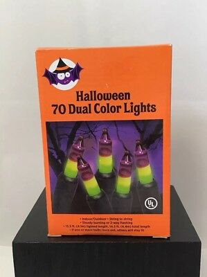 New Halloween Indoor Outdoor dual color Lights 70 Purple Green Steady, Flashing