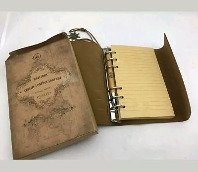 Horizons Classic Leather Refillable Writing Journal Vintage Look