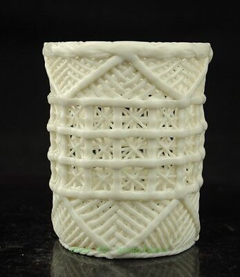 Rare Old Collectible Decoration White Porcelain Hollow Out Usable Brush Pot b01