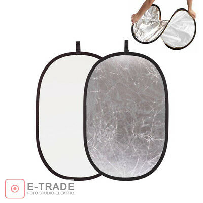 """80x120cm (31.5""""x47"""") Collapsible Round Studio Light Reflector Silver & White"""