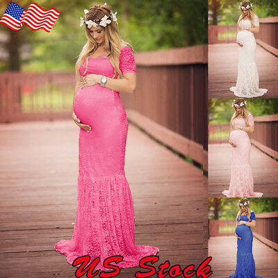 Photography Props US Pregnant Womens Lace Short Sleeve Long Maxi Maternity Dress