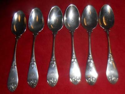 6 Antique  American  N.Harding & Co Coin Silver Spoons 1830-1860 D Monogram