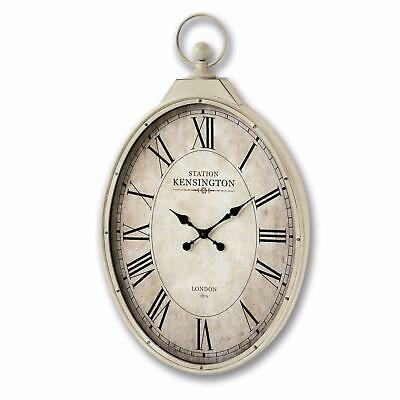 96cm Large Pocket Watch Style Vintage Metal Wall Clock Shabby Chic Cream Decor
