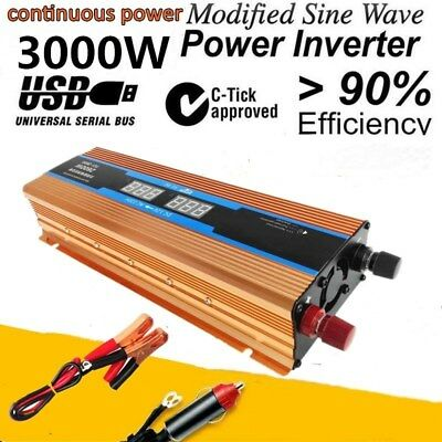 1500W-3000W DC 12V to AC 110V Power Inverter Converter USB Charger For Car NEW