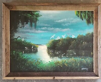 Original Florida Art Painting 18x24 Egrets Moonlight highwaymen style whirls