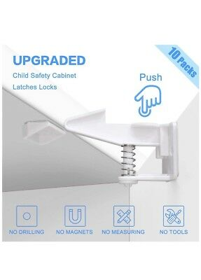 Baby Child Safety Cabinet Locks, Easy to Install, No Tools or Drilling...