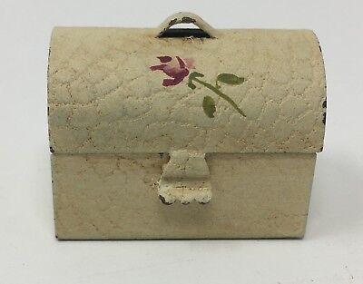 Vintage Dollhouse Miniature Hand Painted Lunch Pail With Rose Flower
