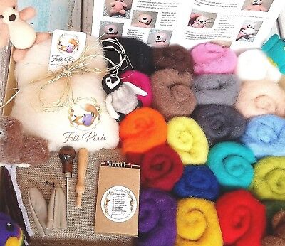 Needle felting kit, starter, 250g NZ carded wool + core, 12 colour needles, mat