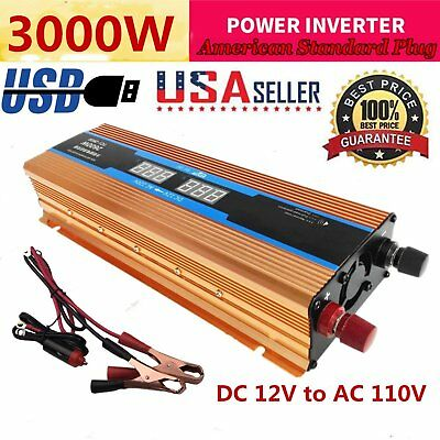 3000W Peak DC 12V AC 110V Power Inverter Converter USB Charger For Car Truck US
