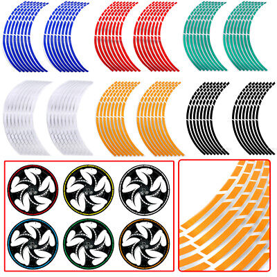 "Car Motorcycle 17""-19"" Wheel Rim 16 Reflective Strips Stripe Tape Decal Stickers"