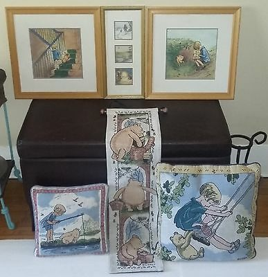 7pc DISNEY CLASSIC POOH-3 framed art-1 wall tapestry-2 tapestry pillows-1 throw