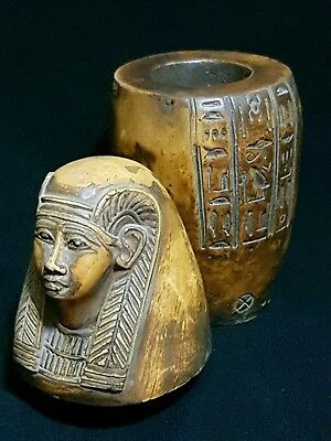 Rare Ancient Egyptian Antique  Canopic Hatshibsut Jar (C.2400-2300)