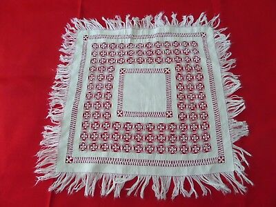 Small Fringed  White Square Tenerife Lace Drawnwork Drawn Work Vintage Doilie