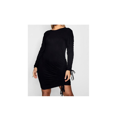 b87c2778a1c BOOHOO PLUS LETTIE Ruched Detail Bodycon Dress Black Size US 12 NWT ...