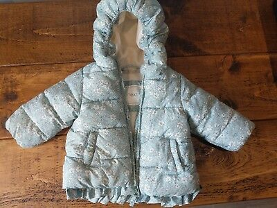 Next baby girl winter coat duck egg blue 3-6 months