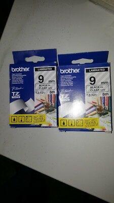 Genuine Brother P-Touch Tape Cassette - BLACK ON CLEAR LAMINATED TZ-121 9mm x 8m