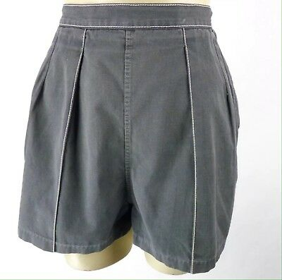 "Vintage 50s High Rise Womens Shorts Size XS 25"" Waist Gray Cotton Pinup VLV"
