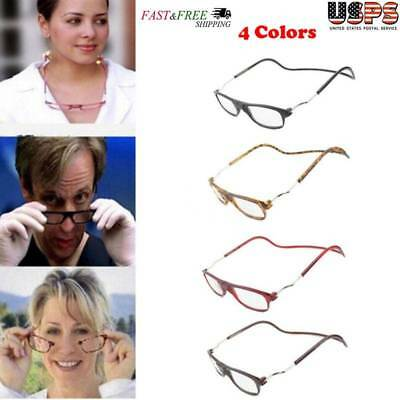Click Adjustable Magnetic Front Connect Reading Eyeglasses Full Rim Glasses New
