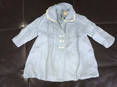 Vintage Baby Girl Wool coat Blue Size 18 Months 1950's