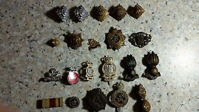 Lot Ww2 British Military Badges Pins Medals Cap Surplus Army Bars Police