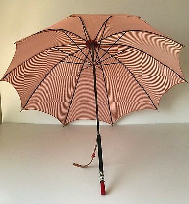 Vintage Umbrella Parasol TESTED RED BAKELITE HANDLE - red and white stripe