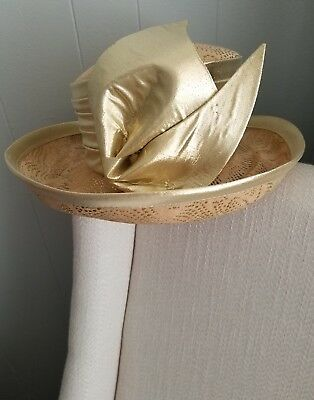 Vintage Mr.John Church Derby Boutique Hat Gold Bow Vtg