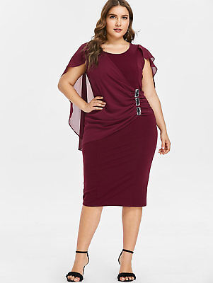 Women Sleeveless Formal Evening Party Prom Dress Plus Size Fitted Overlay Dress