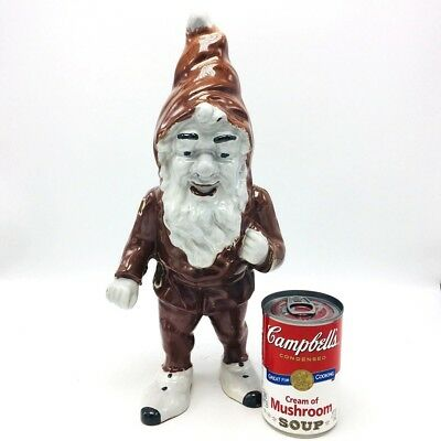 Cast Iron Figural Garden Gnome Enameled Doorstop Vintage Antique Christmas Elf